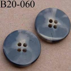 bouton 20 mm couleur marron foncé beige marbré brillant 4 trous diamètre 20 mm