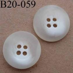 bouton 20 mm couleur ivoire blanc translucide avec bordure 4 trous diamètre 20 mm