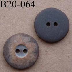 bouton 20 mm couleur marron rouille mat  large bordure 2 trous diamètre 20 mm