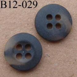 bouton diamètre 12 mm  couleur marron marbré avec bordure 4 trous