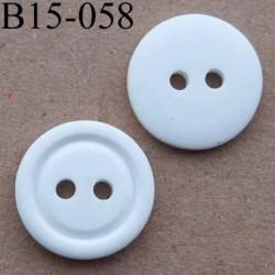 bouton diamètre 15 mm  couleur blanc 2 trous