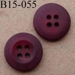 bouton diamètre 15 mm  couleur rouge bourgogne mat  avec bordure 4 trous