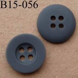bouton diamètre 15 mm  couleur gris mat  avec bordure 4 trous