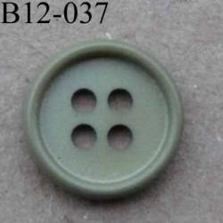 bouton 12 mm couleur vert kaki brillant 4 trous diamètre 12 mm