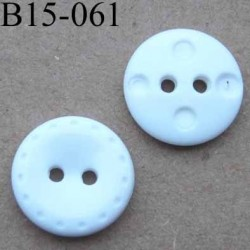 bouton 15 mm couleur blanc 2  trous diamètre 15 mm