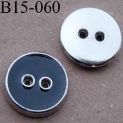 bouton 15 mm pvc couleur noir et chromé 2 trous sertis  diamètre 15 mm