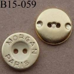bouton 15 mm inscription MORGANE PARIS pvc couleur doré 2 trous diamètre 15 mm