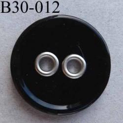 bouton diamètre 30 mm 2 trous sertis métal couleur noir brillant épaisseur 4 mm