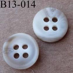bouton diamètre 13 mm  4 trous couleur beige écru dégradé