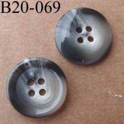 bouton 20 mm couleur gris beige écru dégradé brillant 4 trous diamètre 20 mm