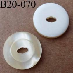 bouton 20 mm couleur écru nacré et blanc 1 trou diamètre 20 mm