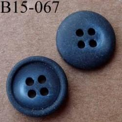 bouton diamètre 15 mm  4 trous couleur mat bleu marine foncé dégradé diamètre 15 mm