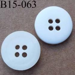 bouton diamètre 15 mm  4 trous couleur blanc gris mat diamètre 15 mm