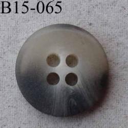 bouton diamètre 15 mm  4 trous couleur gris beige écru dégradé translucide diamètre 15 mm