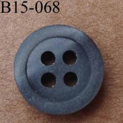bouton 15 mm  couleur anthracite reflets nacré 4 trous diamètre 15 millimètres