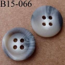 bouton 15 mm   couleur marron et beige marbré mat 4 trous diamètre 15 millimètres