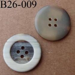 bouton 26 mm  couleur marron beige écru marbré  (effet corne) 4 trous diamètre 26 millimètres