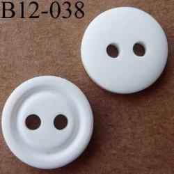 bouton 12 mm  couleur naturel mat 2 trous diamètre 12 millimètres