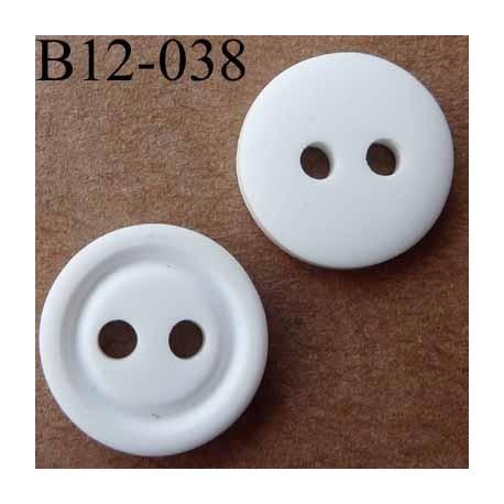 bouton 12 mm  couleur blanc 2 trous diamètre 12 millimètres