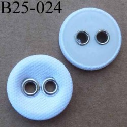 bouton 25 mm  couleur blanc (recouvert de tissu) 2  trous sertis de métal chromé diamètre 25 millimètres