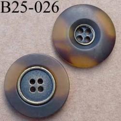 bouton 25 mm style ancien métal au centre et pvc couleur marron marbré translucide 4  trous