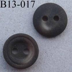 bouton 13 mm couleur  marron mat marbré 2 trous diàmètre 13 millimètres