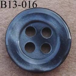 bouton 13 mm couleur anthracite brillant avec reflets  4 trous diàmètre 13 millimètres