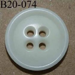 bouton 20 mm couleur blanc cassé 4 trous diamètre 20 mm