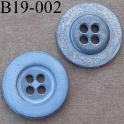 bouton 19 mm métal couleur gris style usé  4 trous diàmètre 19 millimètres