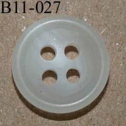bouton 11 mm couleur blanc translucide dégradé 4 trous diàmètre 11 millimètres