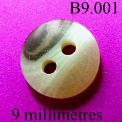 bouton 9 mm couleur marbré 2 trous