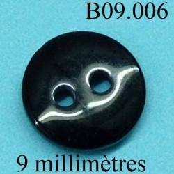 bouton 9 mm couleur noir 2 trous