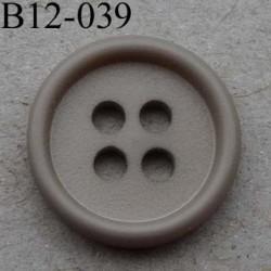 bouton 12 mm couleur taupe 4 trous diamètre 12 millimètres