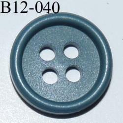 bouton 12 mm couleur (bleu vert) 4 trous diamètre 12 millimètres