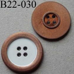 bouton métal 22 mm couleur rouille et blanc 4 trous diamètre 22 millimètres