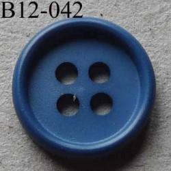 bouton 12 mm couleur bleu  4 trous diamètre 12 millimètres