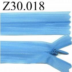 fermeture éclair 30 cm bleu invisible non séparable zip nylon