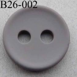 bouton 26 mm couleur gris clair 2 gros trous (diamètre 5 mm) épaisseur 4 mm