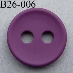 bouton 26 mm couleur bordeaux prune 2 gros trous (diamètre 5 mm) épaisseur 4 mm