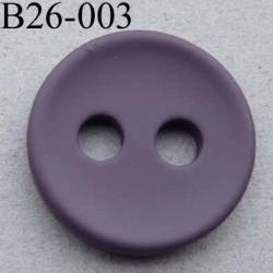 bouton 26 mm couleur prune  2 gros trous (diamètre 5 mm) épaisseur 4 mm