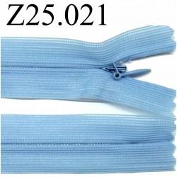 fermeture éclair 25 cm  bleu invisible non séparable zip nylon