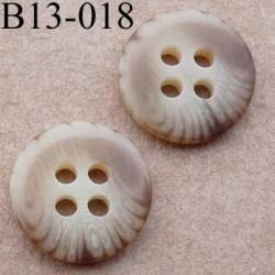 bouton diamètre 13 millimètres couleur marron beige marbré 4 trous diamètre 13 mm