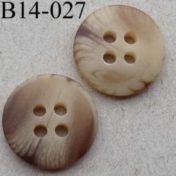 bouton diamètre 14 millimètres couleur marron beige marbré 4 trous diamètre 14 mm