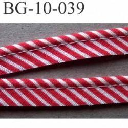 biais galon ruban passepoil couleur rouge et blanc avec cordon intérieur coton 7 fils largeur 10 mm prix au mètre