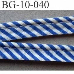 biais galon ruban passepoil couleur bleu et blanc avec cordon intérieur coton 7 fils largeur 10 mm prix au mètre