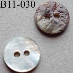 bouton 11 mm  en nacre couleur brun 2 trous diamètre 11 millimètres