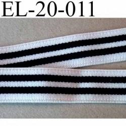 élastique plat souple belle qualité couleur noir et blanc à rayures largeur 20 mm prix au mètre