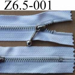 fermeture zip à glissière 6,5 cm couleur blanc non séparable   largeur 2,5 cm zip métal et largeur du zip 4 mm
