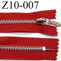 fermeture zip à glissière longueur 10 cm couleur rouge non séparable zip métal   largeur 3,1 cm largeur du zip 6 mm