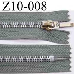 fermeture zip à glissière grise longueur 10 cm couleur gris non séparable zip métal   largeur 3,1 cm largeur du zip 6 mm